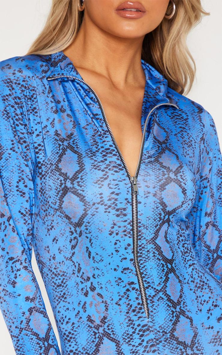 Tall Blue Snake Print Zip Jumpsuit 6