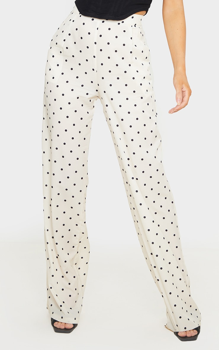 Cream Polka Dot Print Wide Leg Pants 2