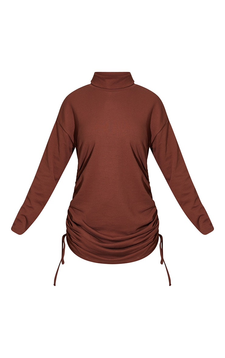 Chocolate Roll Neck Ruched Side Long Sleeve Bodycon Sweat Dress 5