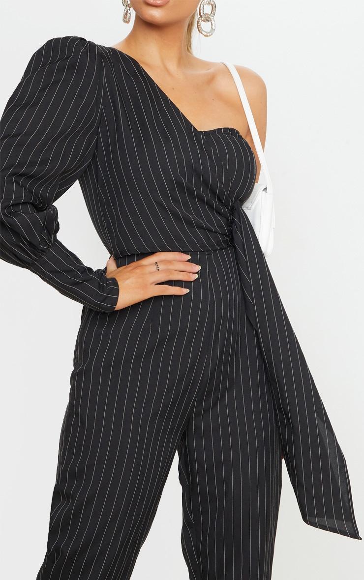 Black Pinstripe One Sleeve Tie Detail Jumpsuit 5