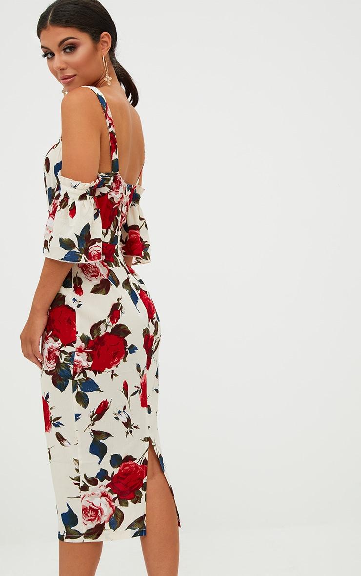 Cream Floral Cold Shoulder Midi Dress 2