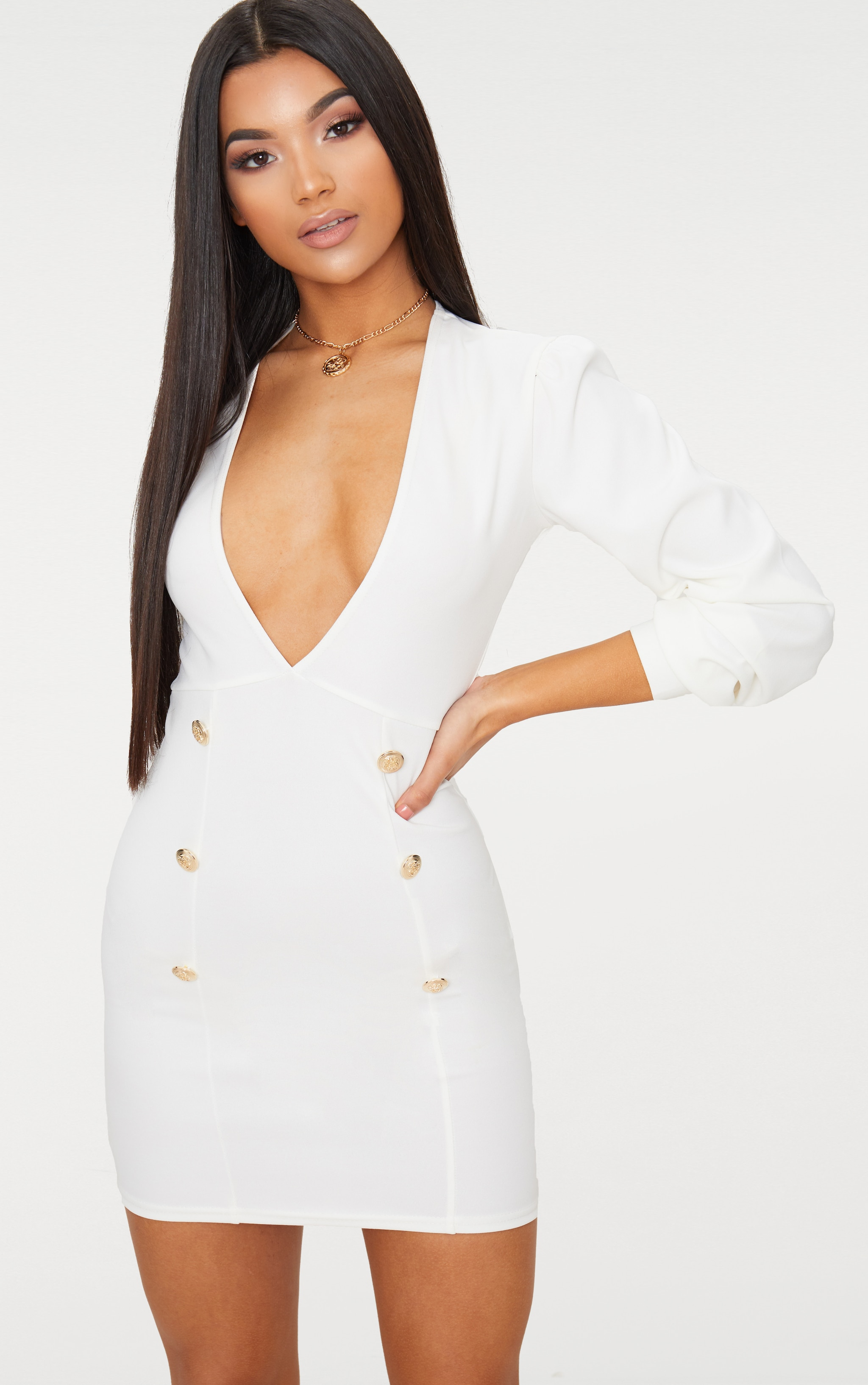 White Plunge Tux Bodycon Dress  2