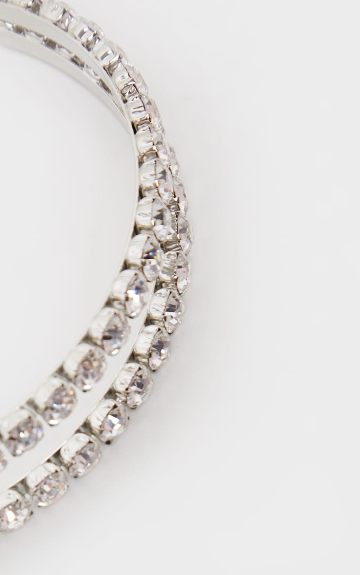 Silver Large Diamante Double Headband 2