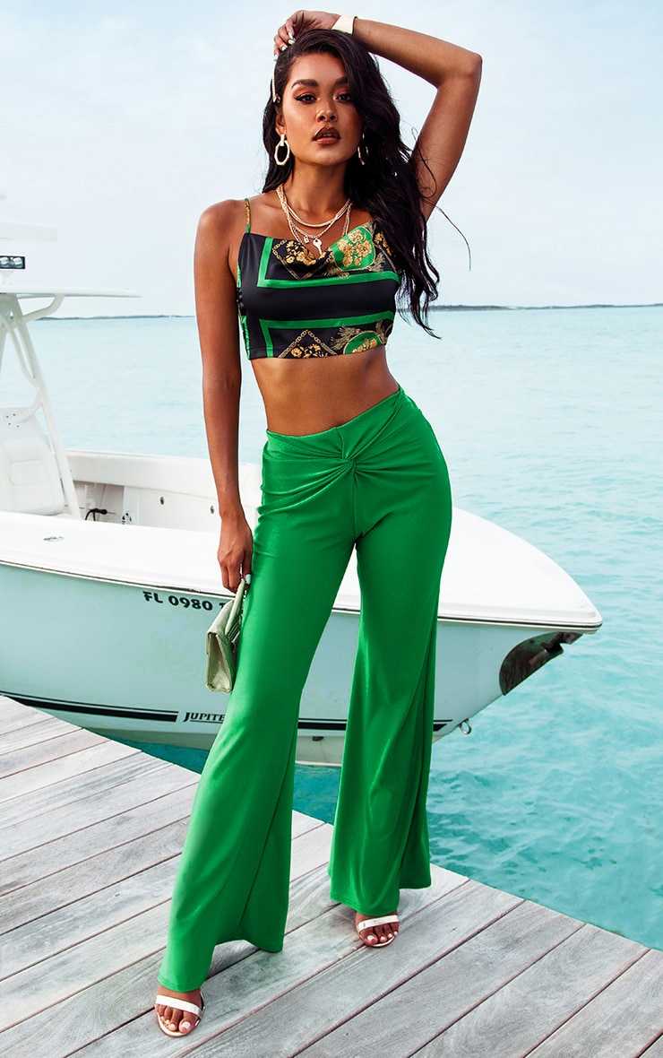 Green Knot Front Flared Pants 1