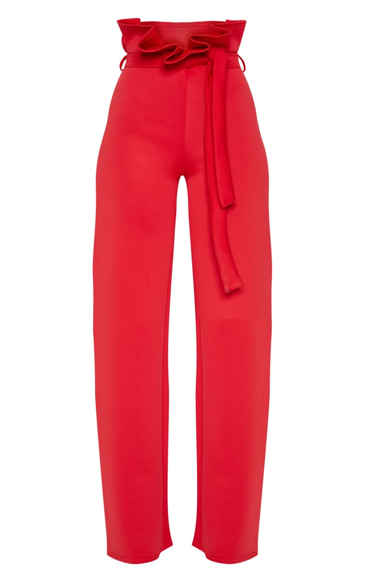 Red Scuba Extreme Paperbag Wide Leg Trouser 3