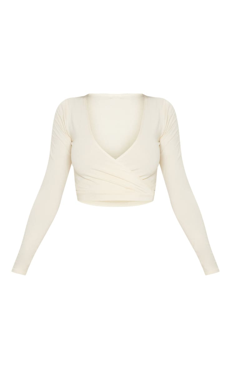 Cream Cotton Wrap Front Long Sleeve Crop Top 3