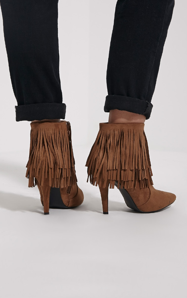 Torah Tan Pointed Fringe Suede Boots 2