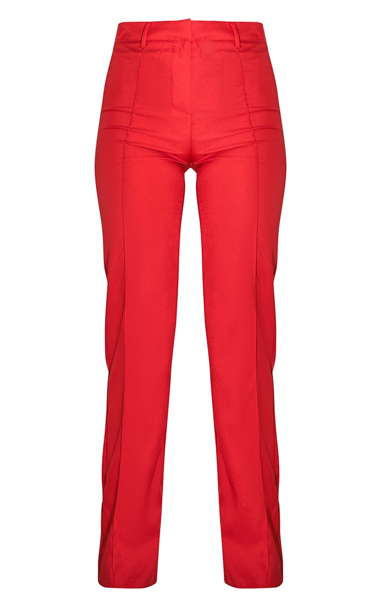 Red High Waisted Straight Leg Pants 5