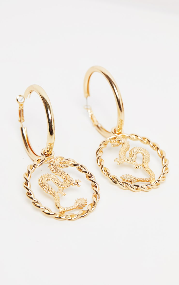 Gold Medium Snake Charm Hoop Earring 2
