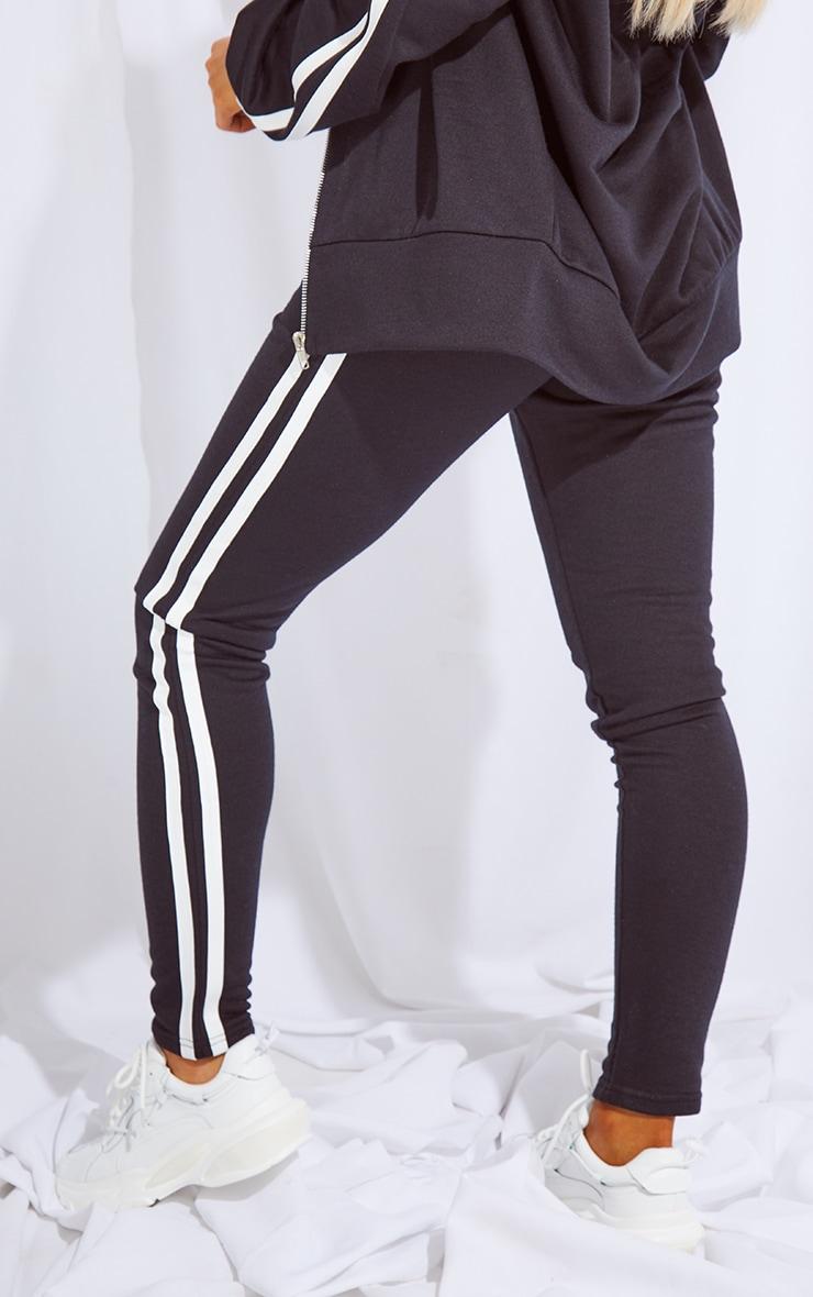 Black Double Side Stripe Skinny Joggers 3