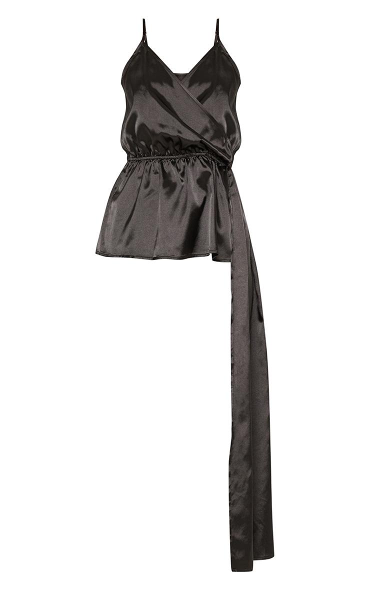 Black Satin Strappy Tie Waist Cami 3