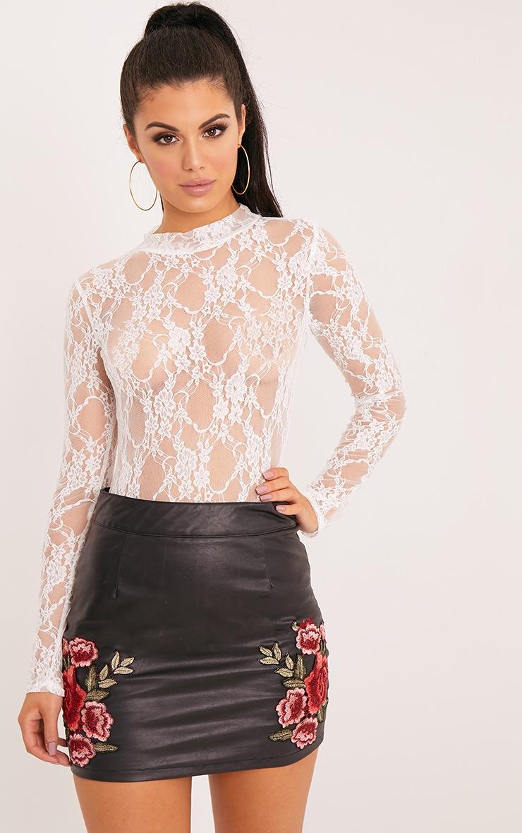Esmea Cream Lace Longsleeve Thong Bodysuit 1