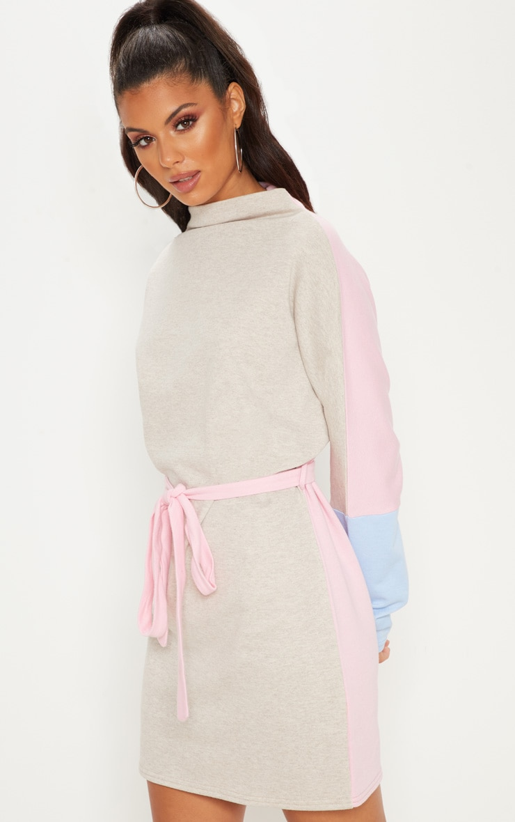 Beige Oversized Funnel Neck Tie Waist Tri-Colour Jumper Dress