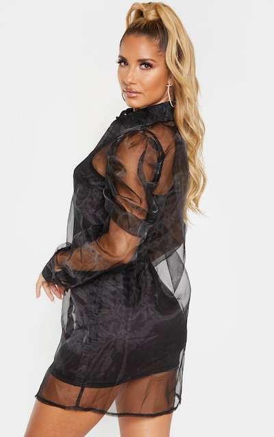 Black Puff Shoulder Organza Shirt Dress