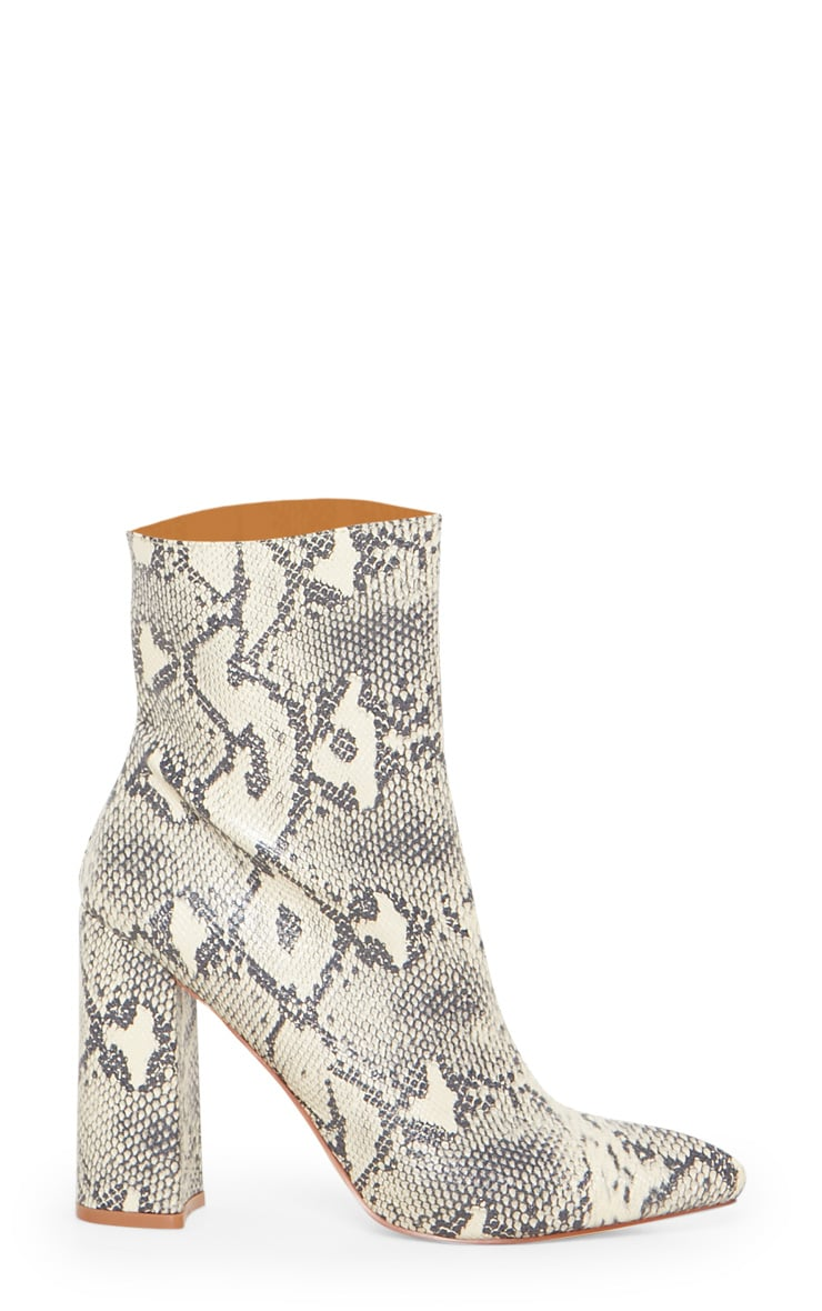 Beige Faux Snake Ankle Boot 3