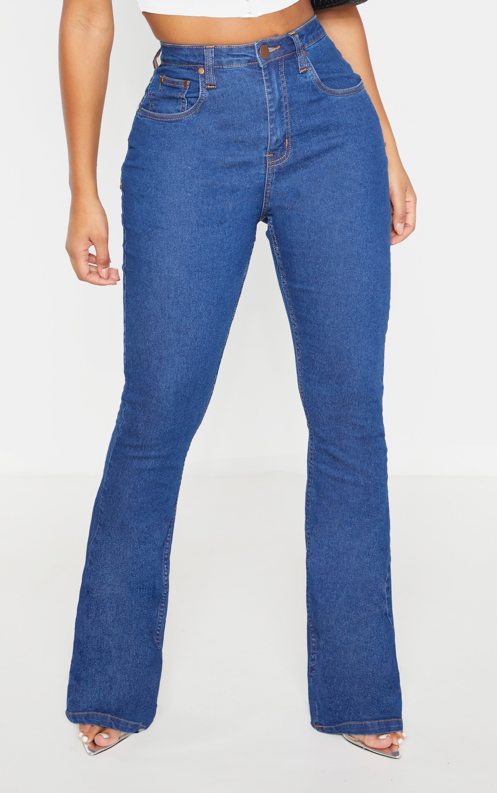 Shape Mid Wash Stretch Denim Flared Jean 2