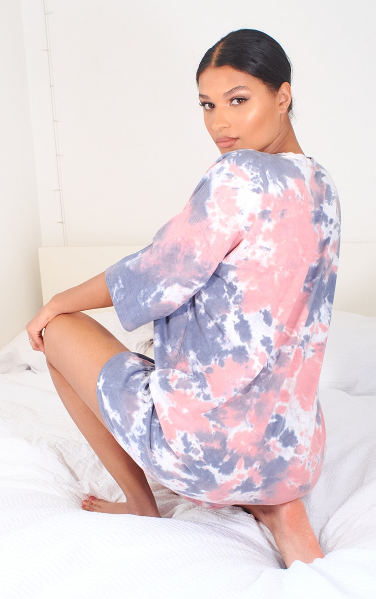Nude Tie Dye T Shirt Boyfriend Dress 2