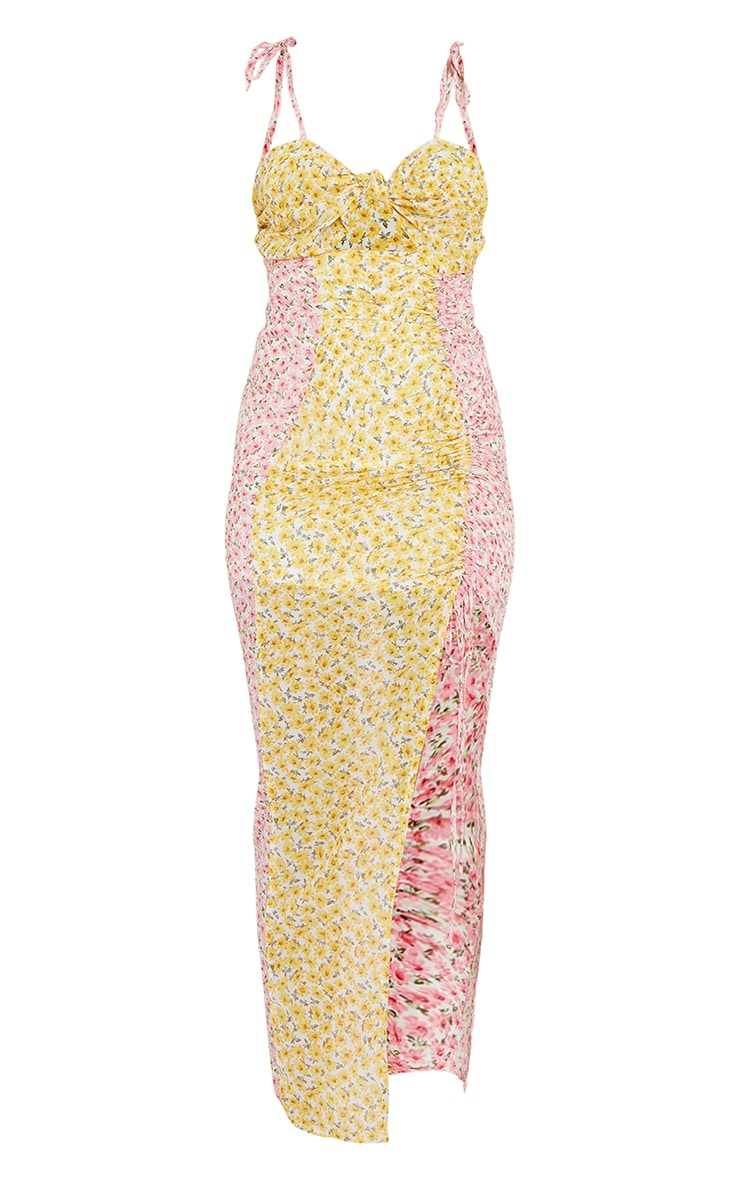 Multi Mixed Floral Tie Bust Ruched Midaxi Dress 5