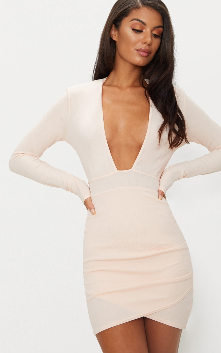 Nude Plunge Cut Out Back Wrap Skirt Bodycon Dress 1