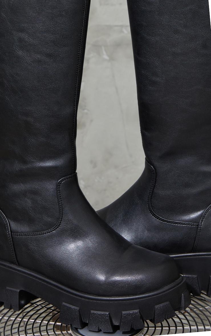 Black PU Cleated Sole Chunky Wellies 4