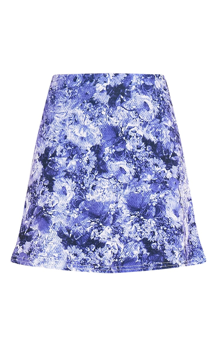 Tamira Blue Oriental A-Line Mini Skirt 3
