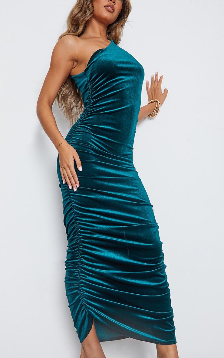 Emerald Green Velvet Shoulder Pad One Shoulder Ruched Midaxi Dress 4