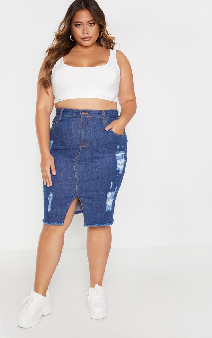 PLT Plus - Jupe mi-longue en jean moyennement délavé déchirée 1