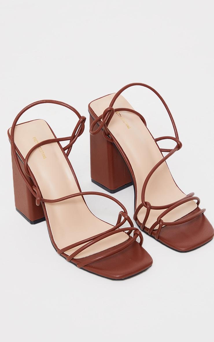 Chocolate PU Lace Up Sling Back Block Heeled Sandals 3