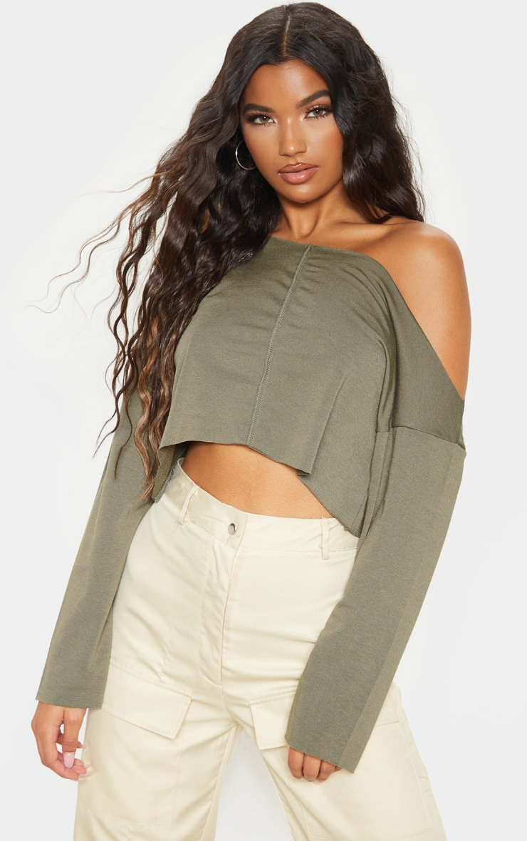 Hadley Khaki Off Shoulder Cropped Sweater 1