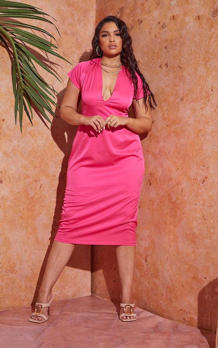 Plus Hot Pink Lace Up Back Satin Midi Dress 2