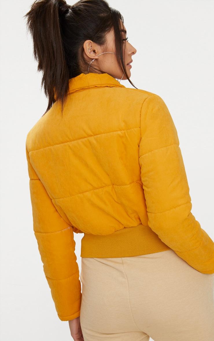 Doudoune courte peau de pêche jaune moutarde 2