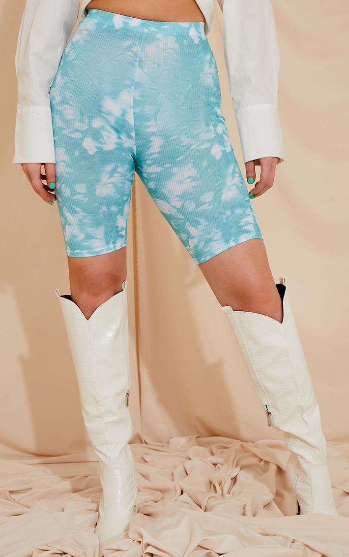 Teal Tie Dye Rib Cycle Shorts 2
