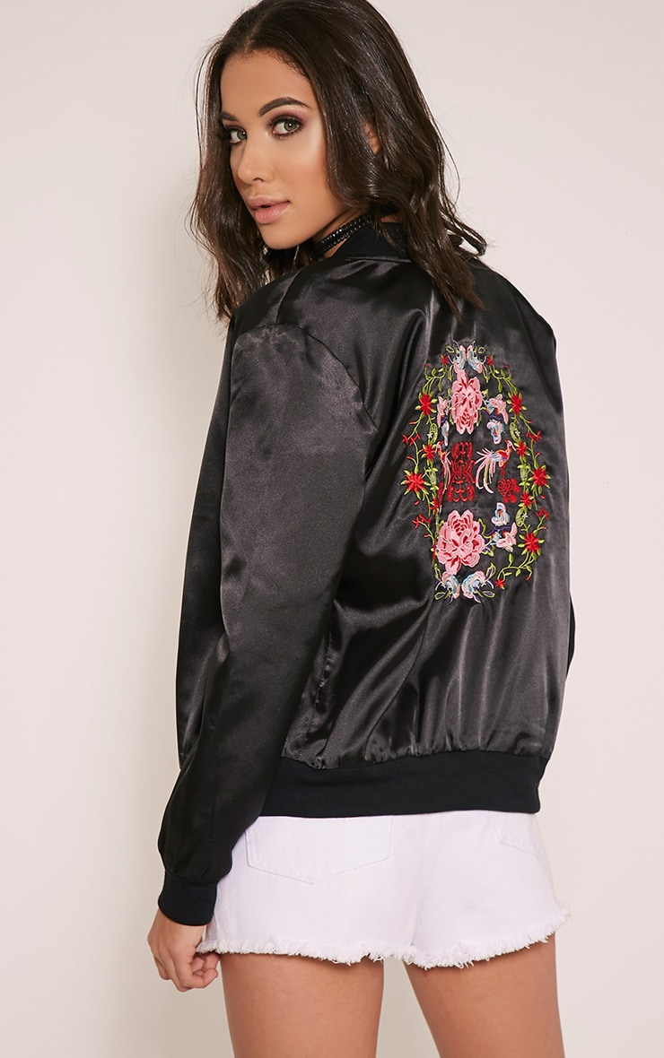 Tonia Black Satin Oriental Embroidered Bomber Jacket 1