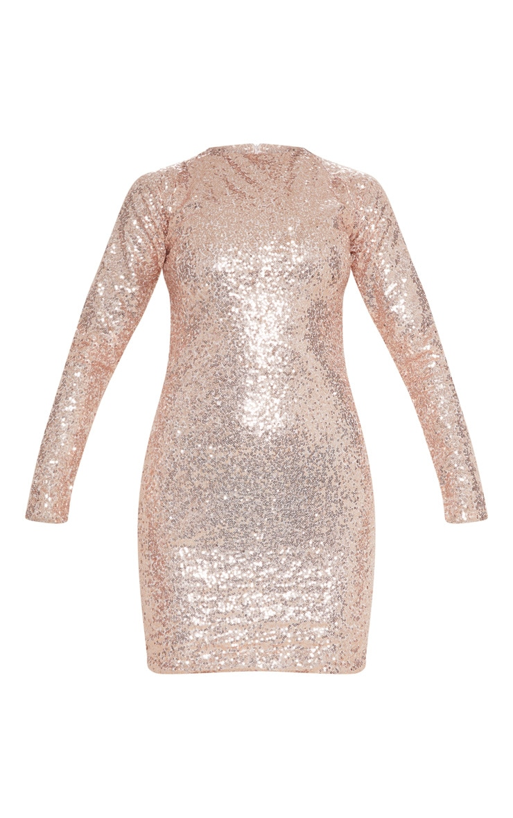 Rose Gold Sequin Long Sleeve Bodycon Dress 3