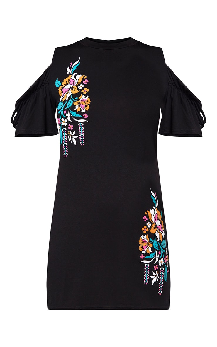 Black Cold Shoulder Embroidered Print Shift Dress 3