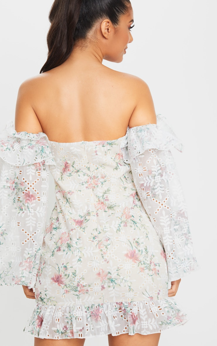 White Embroidered Lace Bardot Frill Bodycon Dress 2