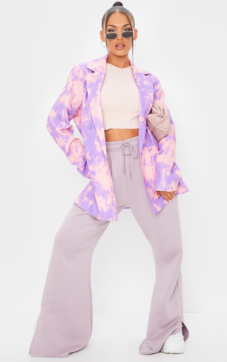 Purple Woven Triple Breasted Oversized Blazer 3