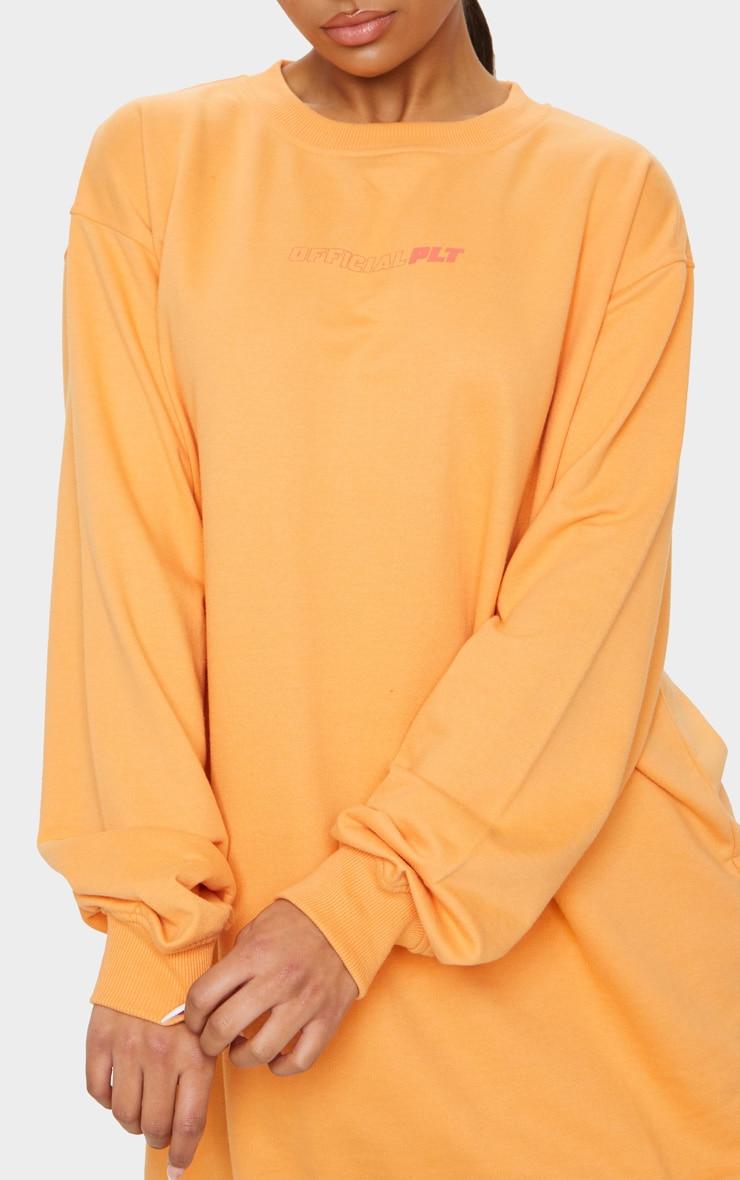 PRETTYLITTLETHING Orange Official Slogan Back Print Long Sleeve Jumper Dress 4