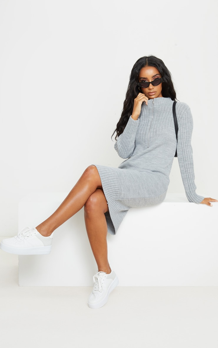 Grey Zip Front Knitted Jumper Dress 2