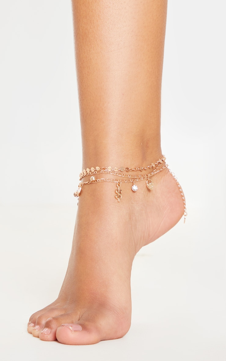 Gold Dollar And Disc Triple Layer Anklet 1