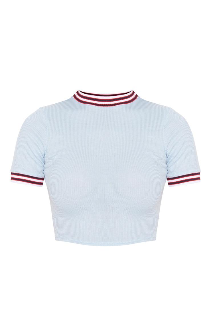 Baby Blue Rib Sport Trim T Shirt  3