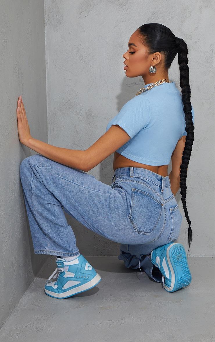 Baby Blue Rib High Neck Short Sleeve Crop Top 2