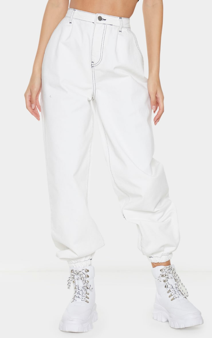 White Contrast Stitch Cuffed Extreme Jogger Jeans 2