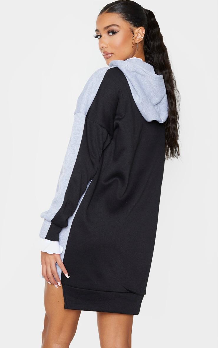 Grey Contrast Oversized Hoodie Jumper Dress 2