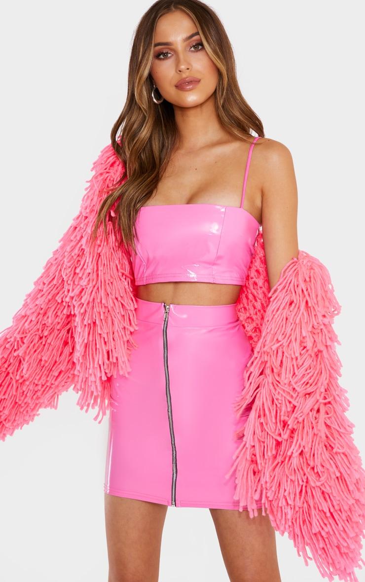 Hot Pink Vinyl Contrast Mini Skirt 1