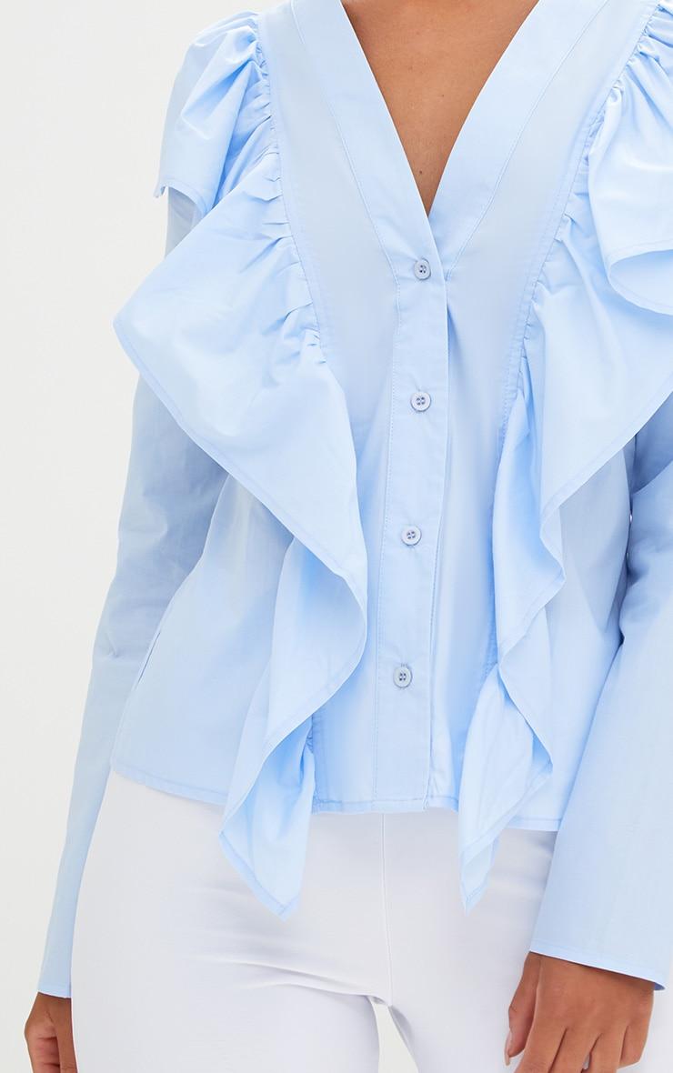 Pale Blue Frill Front V Neck Shirt  5