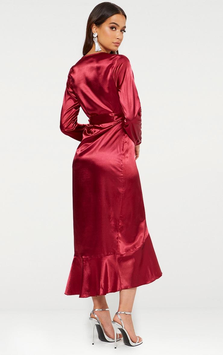 Dark Red Wrap Plunge Frill Detail Long Sleeve Satin Midaxi 2