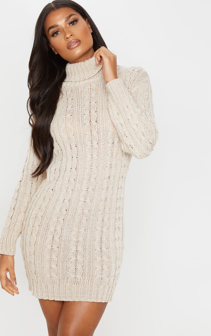 Oatmeal All Over Cable Knit Sweater Dress 1