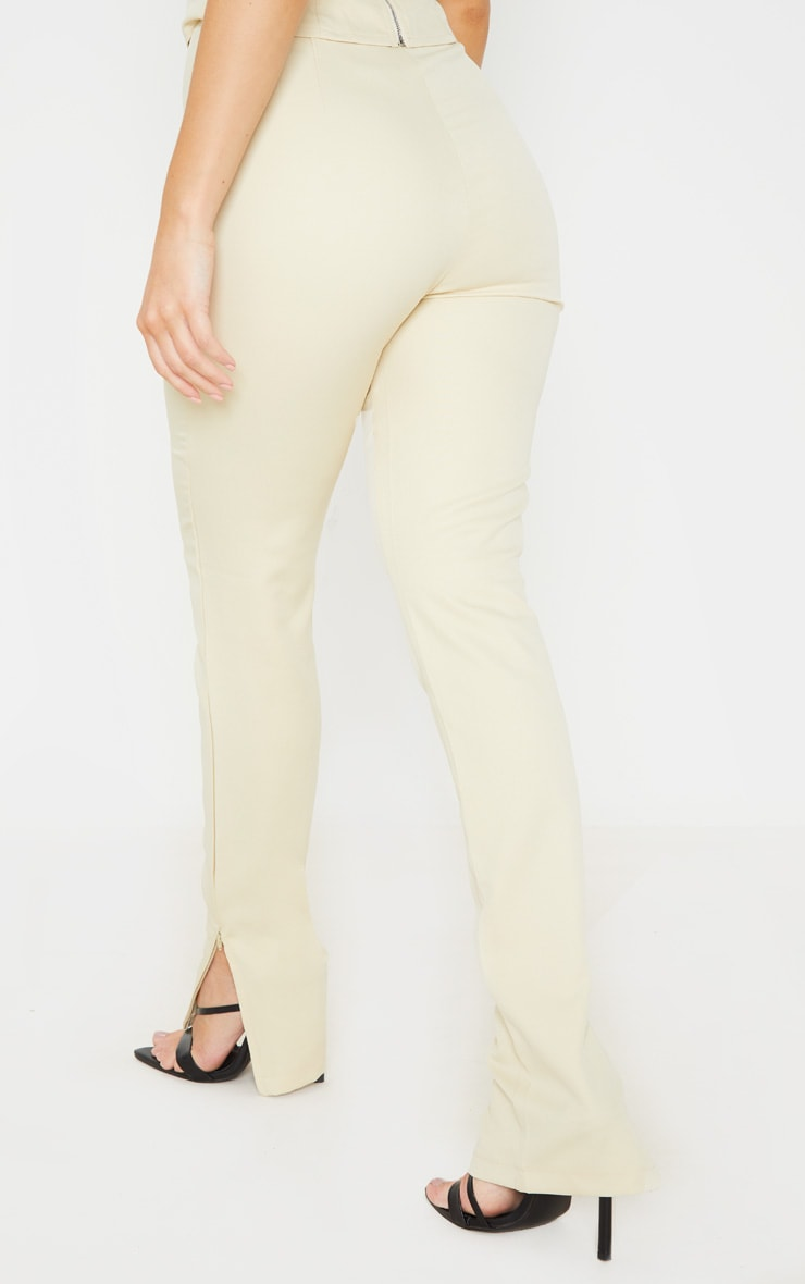 Beige Woven High Waisted Split Hem Skinny Trouser 4