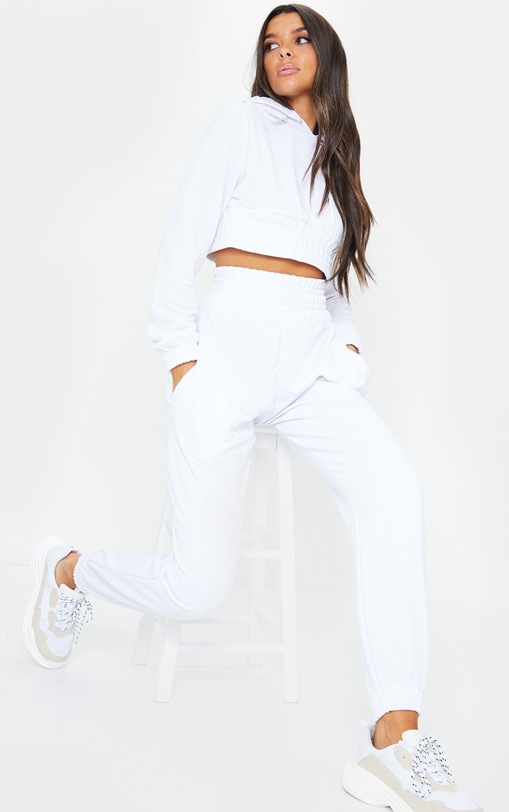 White Shirred Waist Panel Joggers 1
